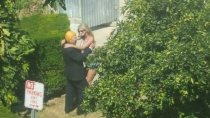 Trump meets a girl in the garden