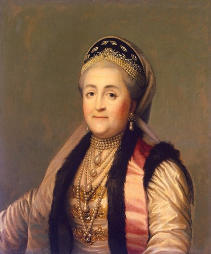 Catherine the Great wearing a black kokoshnik studded with diamonds and pearls.