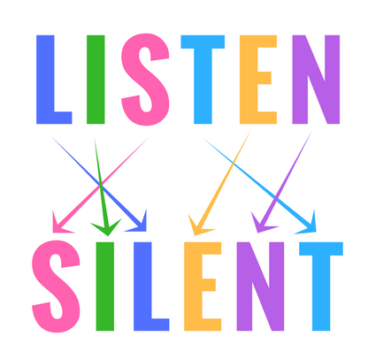"""anagram image of """"listen"""" and """"silent"""" with arrows pointing to matching letters"""