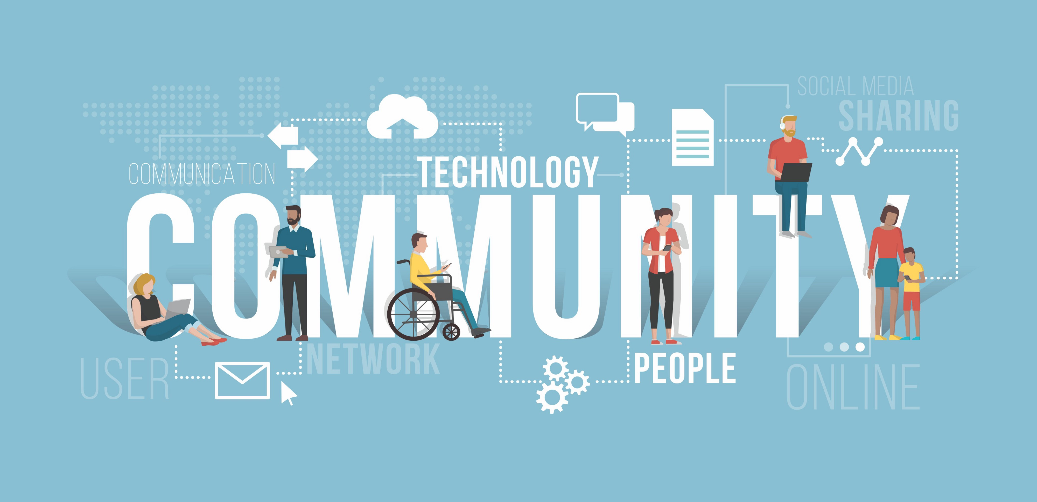 "Seven cartoon people different genders and ages (one in a wheelchair) with the words ""Technology Community People Network"""