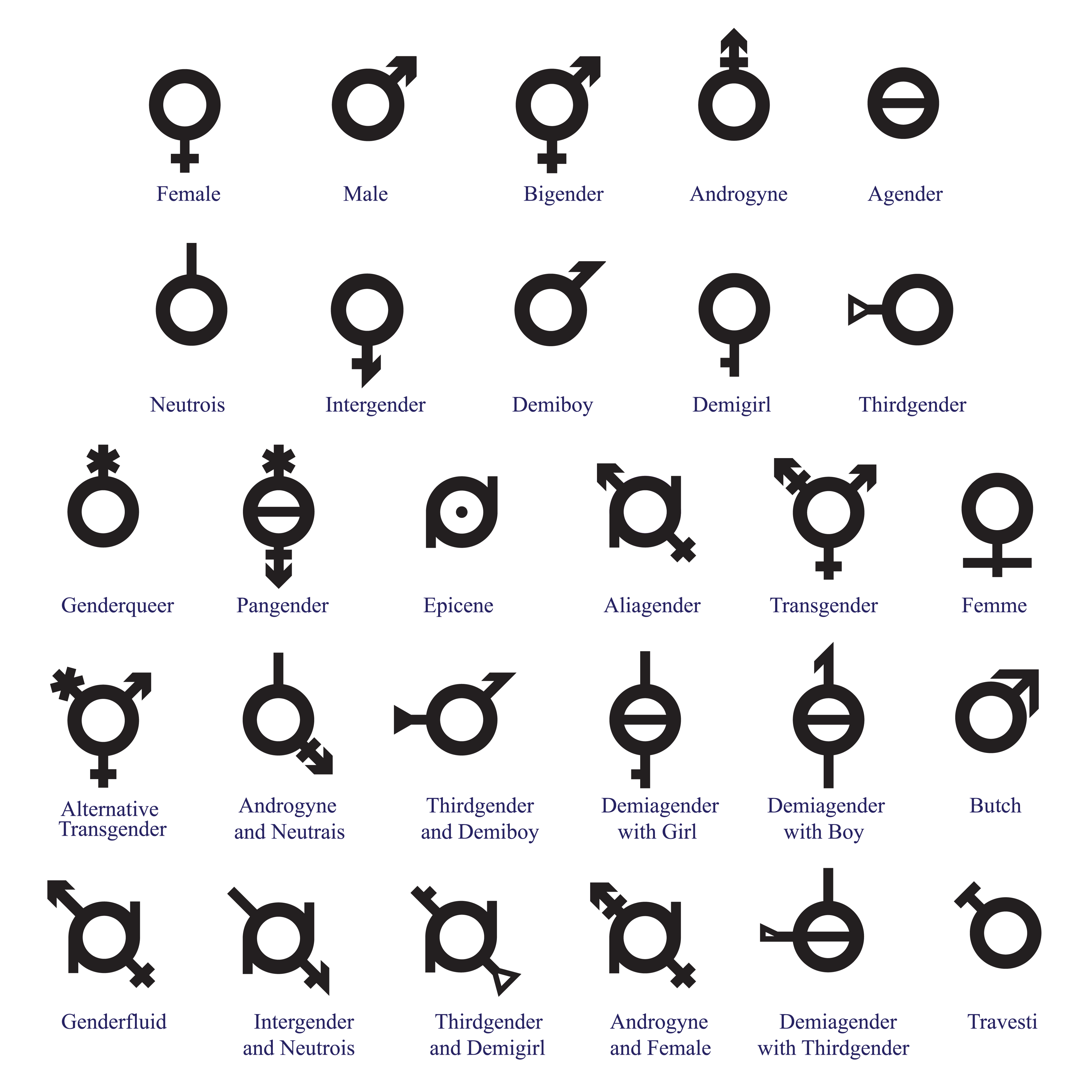 Illustrated list of icons to indicate different genders and sexualities