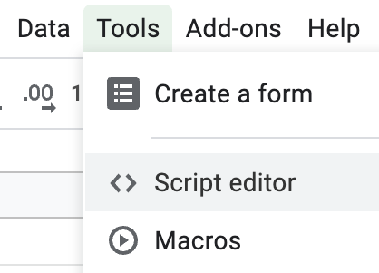 A screenshot of the Tools menu in Google Sheets, with the script editor option highlighted.