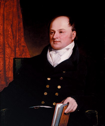 John Quincy Adams wearing a black suit and white cravat. He is balding and plump.