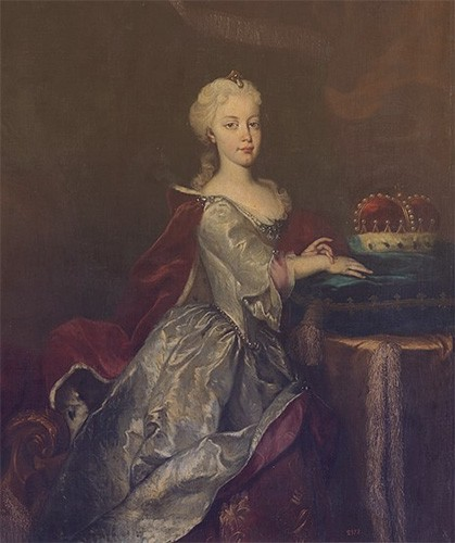 Portrait of young Maria Theresa kneeling beside a crown.