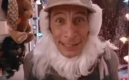 Ernest P Worrell popping in Vern's door with a Santa beard on and a huge excited look on his face.