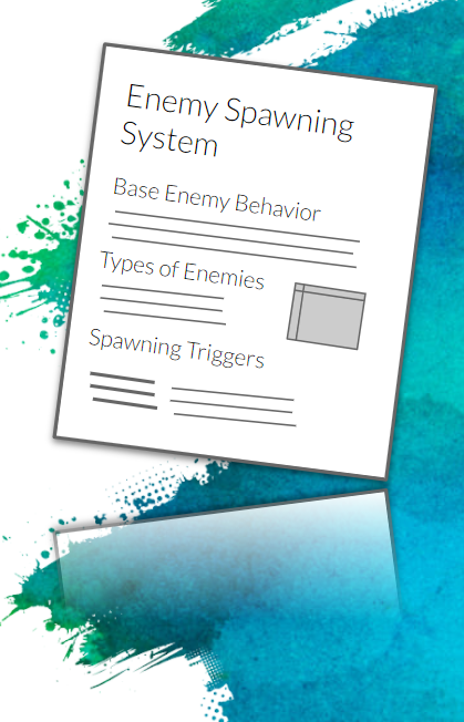 """Simplified example of a feature spec doc for """"Enemy Spawning System,"""" featuring enemy types, spawning triggers, etc."""