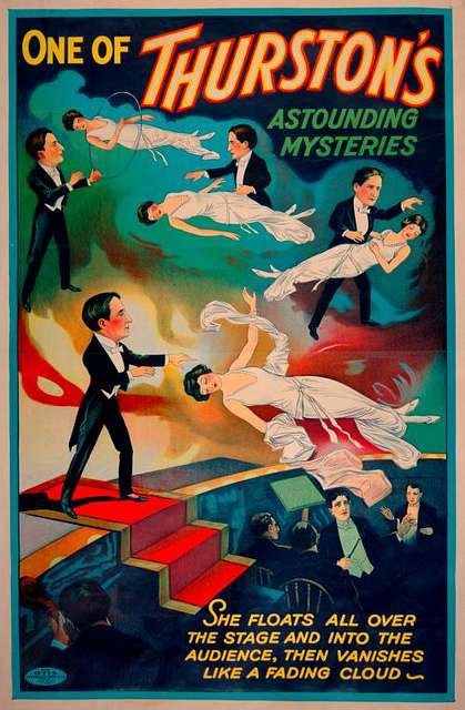 A vintage poster of a magician performing an illusion.