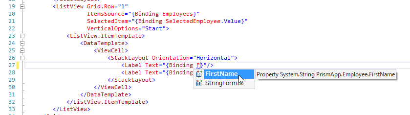 Enable IntelliSense for ViewModel members with Prism for