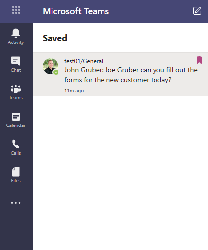 Microsoft Teams saved messages