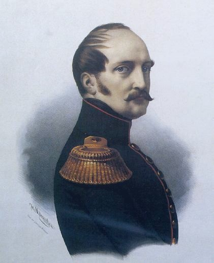 Nicholas I in military uniform. He has long sideburns, short brown hair, and a mustache.