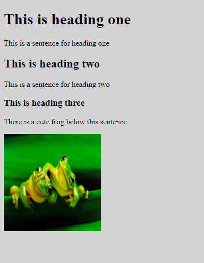 the completed webpage with three headings and sentences and a picture of two cute frogs