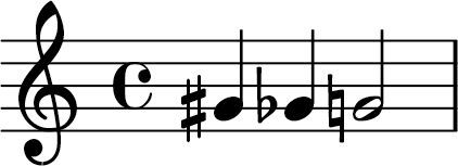 Example of Accidentals showing a G Sharp, G Flat, and G Natural