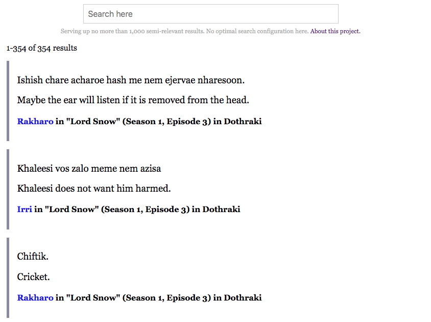 Introducing Game of Thrones Script Search - Jeffrey