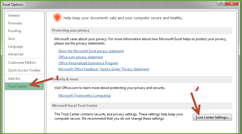 "Microsoft Excel — HOW TO Disable ""Protected View"" in MS Excel"