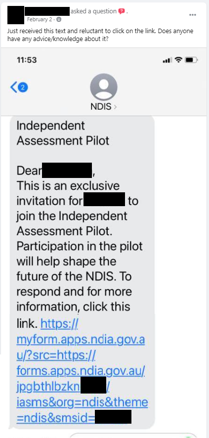 SMS received, inviting a person to click on a link