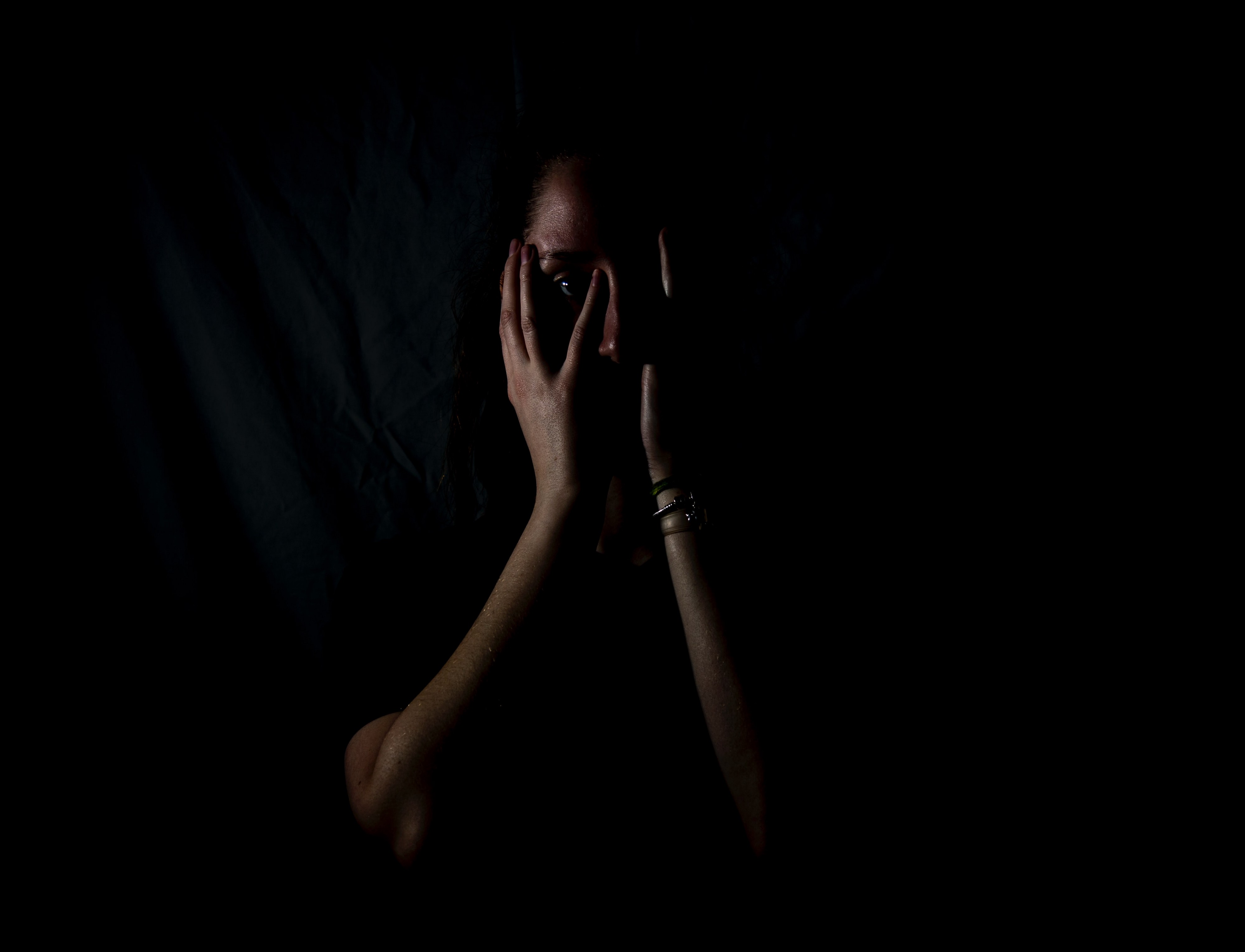 woman in darkness