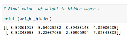 Figure 69: Displaying the final values of our weights in the hidden layer.