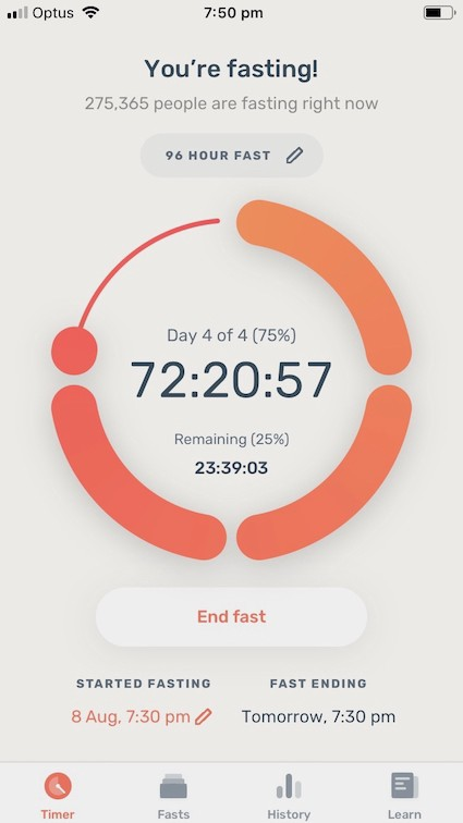 Tracking an extended fast with the Zero fasting app. The app shows 72-hours and 20 minutes spent fasting.