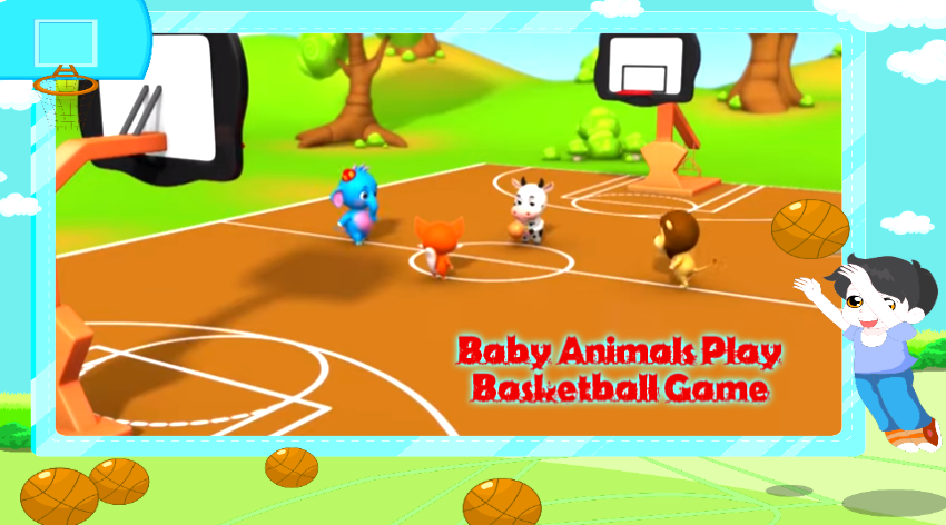 Cartoons For Kids Baby Animals Play Basketball Game 3d Animation Funny Kids Games Cartoons By Baby Animals Medium