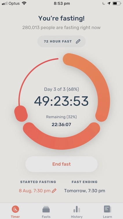 Tracking an extended fast with the Zero fasting app. The app shows 49-hours and 23 minutes spent fasting.