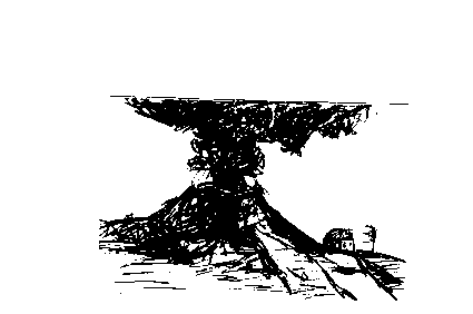a black and white drawing of a volcano.