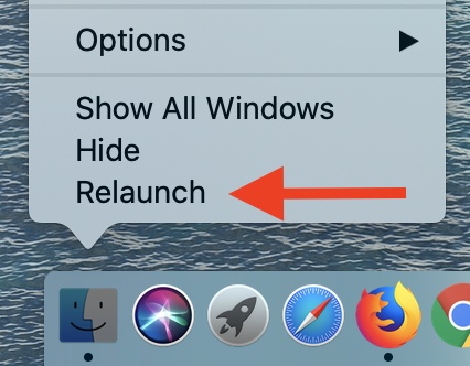 How to relaunch Finder — The relaunch option will be shown at the very bottom of the context menu.