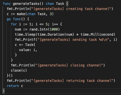 Channels example generator function