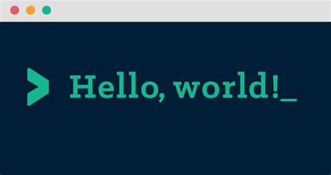 """A computer terminal with the text """"Hello, world!"""""""