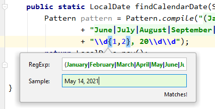 "IntelliJ IDEA Check RegExp frame showing a matching regular expression. ""June 6, 2012"" matches a regular expression for a month name, space, one or two digits, comma, space, and a year from 2000 to 2099."