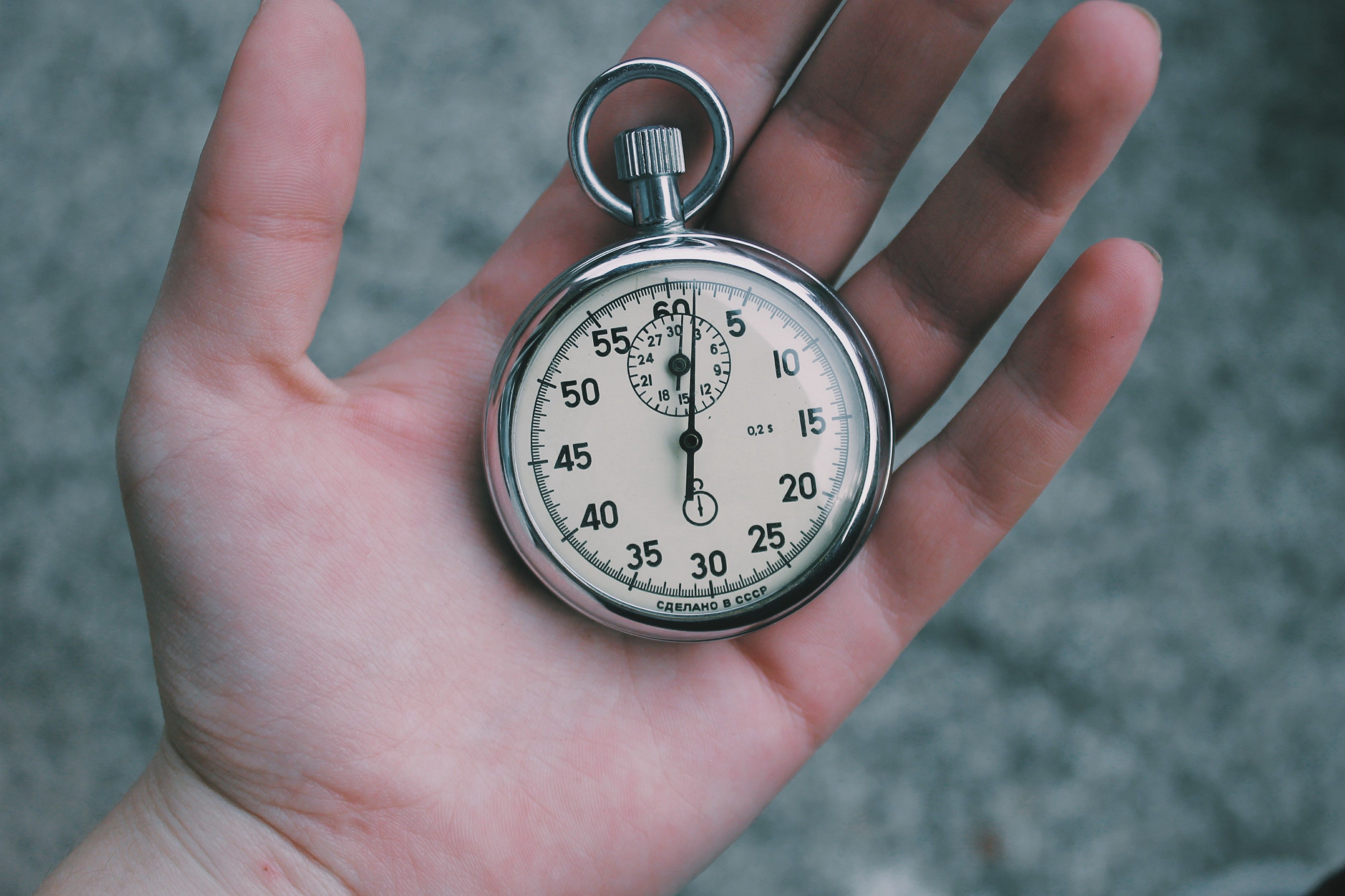 A picture of a mechanical stopwatch.