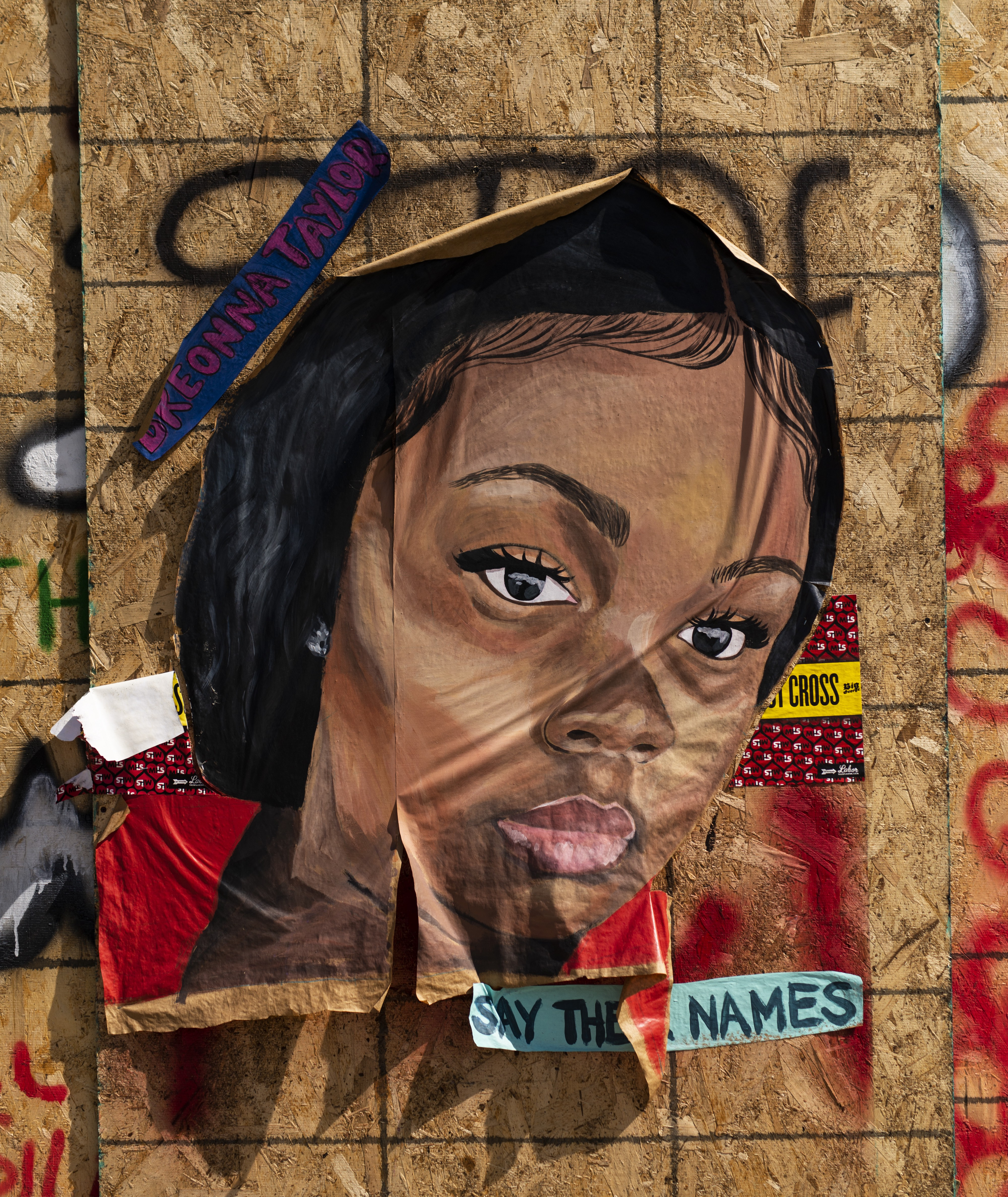 A portrait of Breonna Taylor is pasted to a building on June 25, 2020 in Minneapolis, Minnesota.