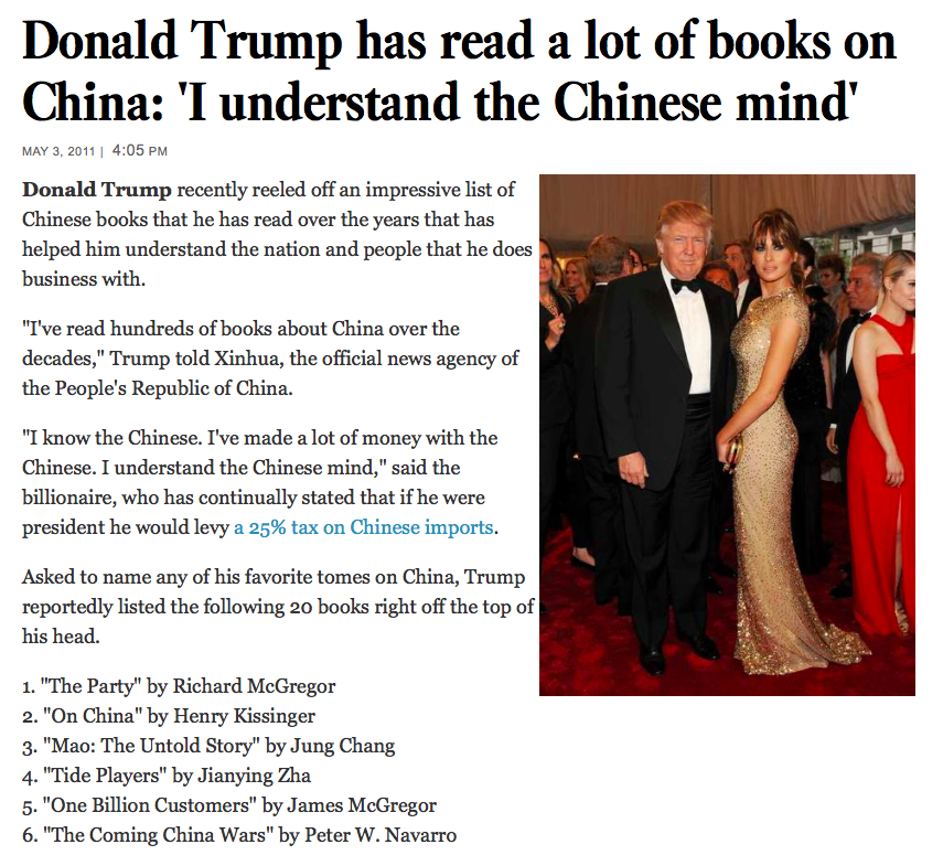 Debunking Donald Trump S 20 Favorite Books On China