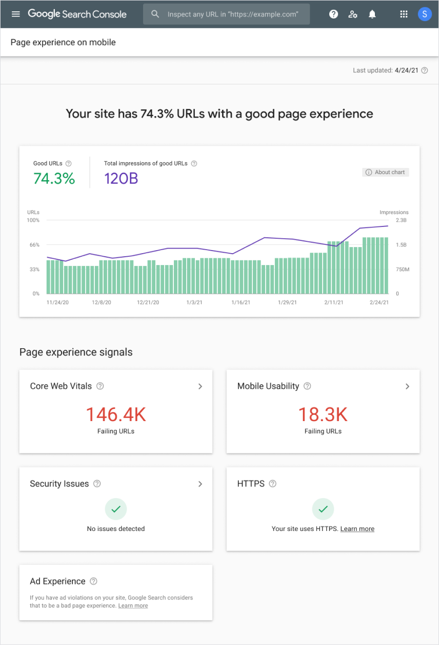 Page Experience Google Search Console Report screenshot