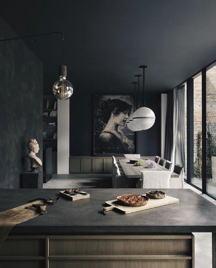 moody black kitchen and dining room @k2a architecture