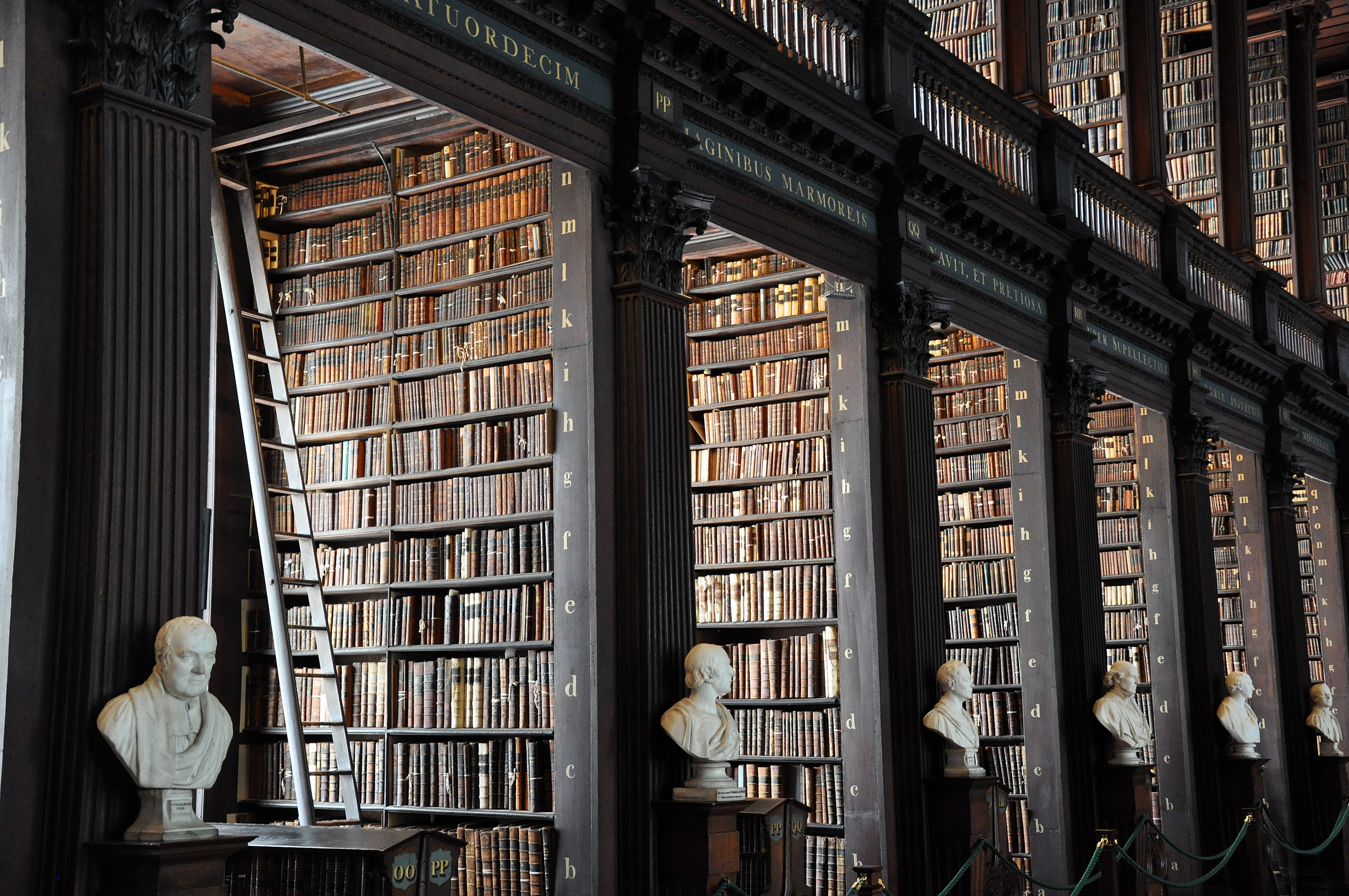 An old library with busts of writers and philosophers.
