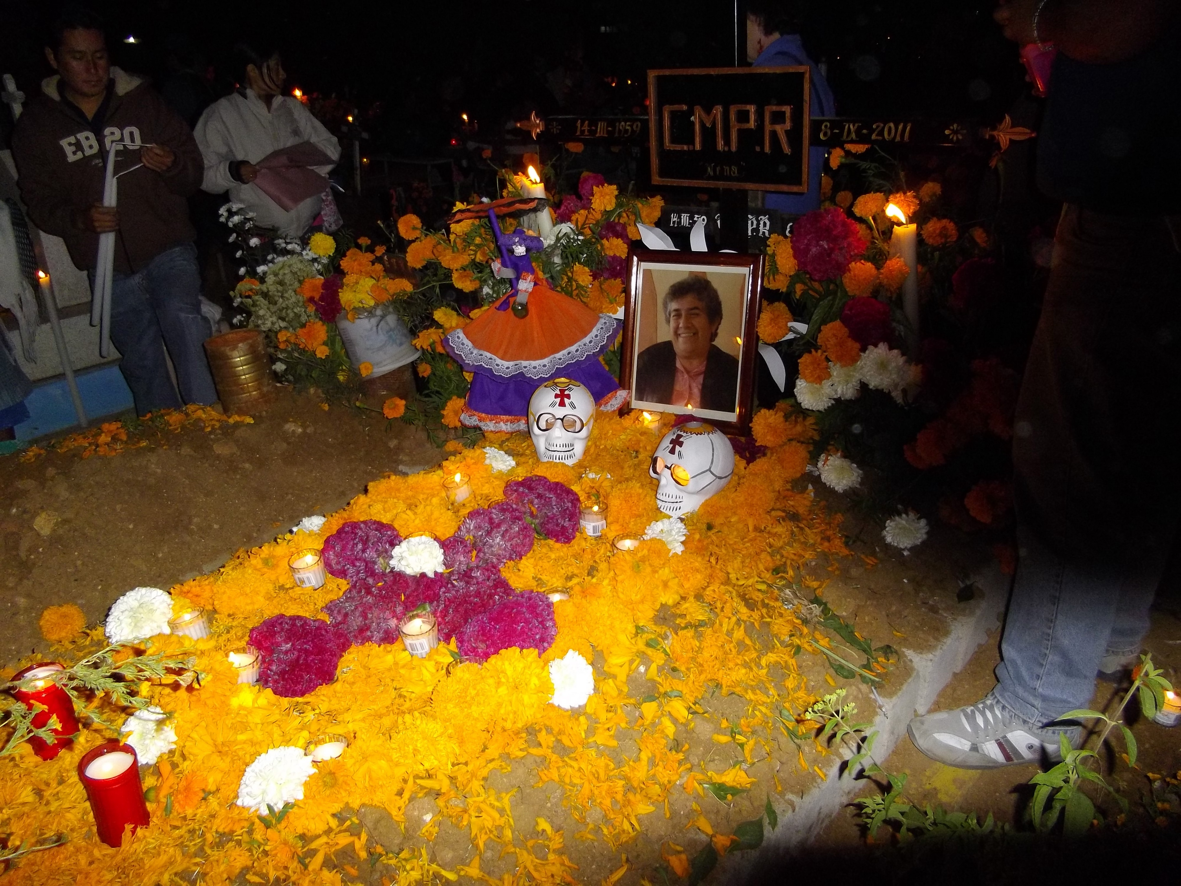Grave covered with marigolds. Day of Dead, Oaxaca, Mexico