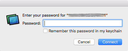 Password dialog generated by my Mac OS X to connect to the VNC Server