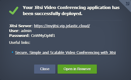 deployed Jitsi Video Conferencing