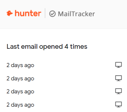screenshot from MailTracker showing when an email was opened