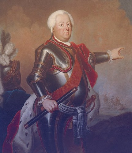 King Friedrich Wilhelm painted in a suit of armor, wearing a red ermine cloak.