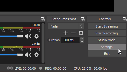 Location of OBS settings button