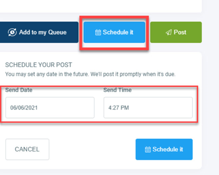 Schedule social media posts from the calendar