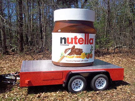 Giant jar of Nutella on a flatbed trailer, part of a 2014 marketing campaign.