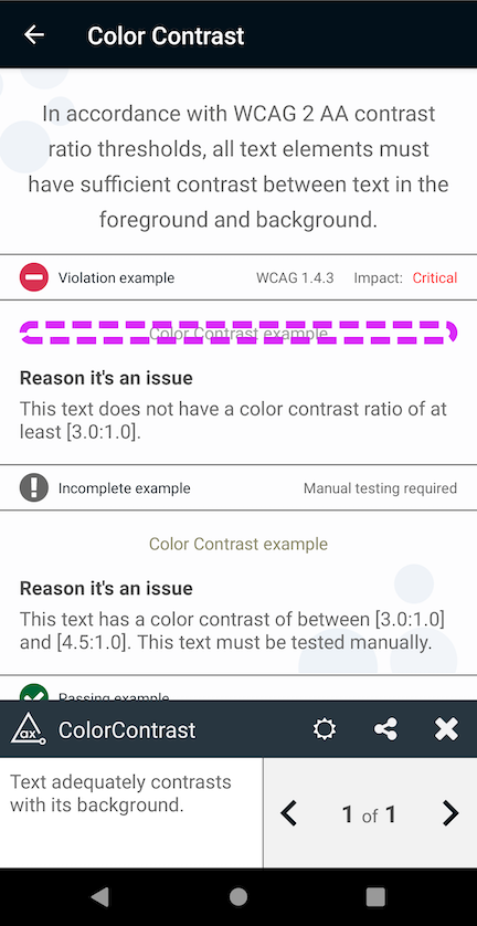 Screenshot of Deque's app finding a contrast violation