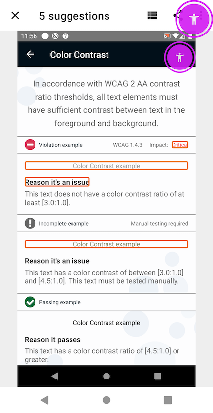 Screenshot of Google finding contrast violations