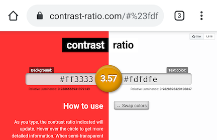 Screenshot of contrast-ratio.com