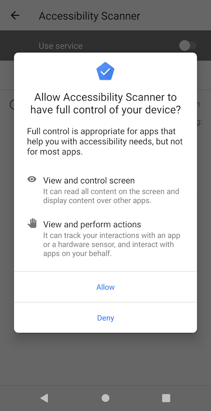 Screenshot of an Android accessibility permission request
