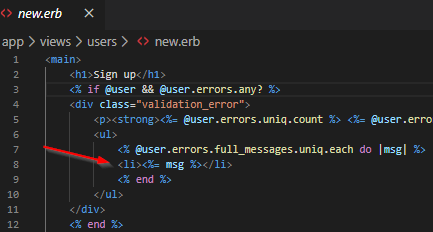 checking for user object errors, displaying them