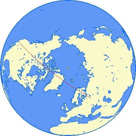 Map of globe from above north pole; straight line drawn from LA to Moscow