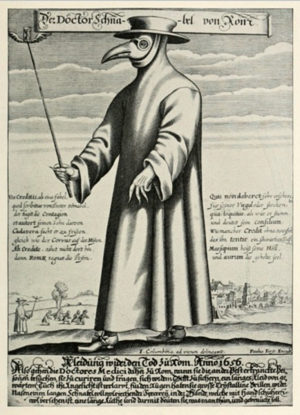 Plague doctor in a full gown wearing a had and mask with a long beak.